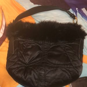 COACH SATIN SIGNATURE HOBO RABBIT FUR TRIM